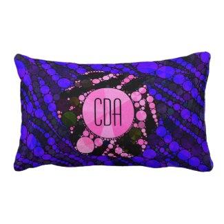 Zebra blue/pink Monogram Throw Pillows